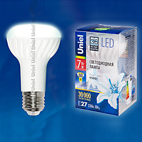 лед LED-R63-7W/NW/E27/FR CRF01WH